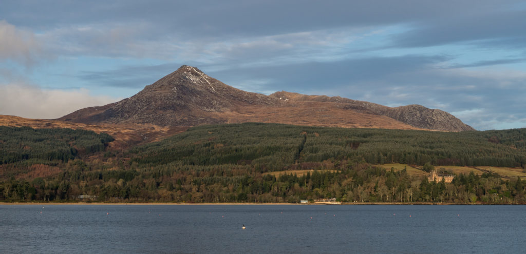 Goatfell and Brodick Castle from the south - Arran, Scotland