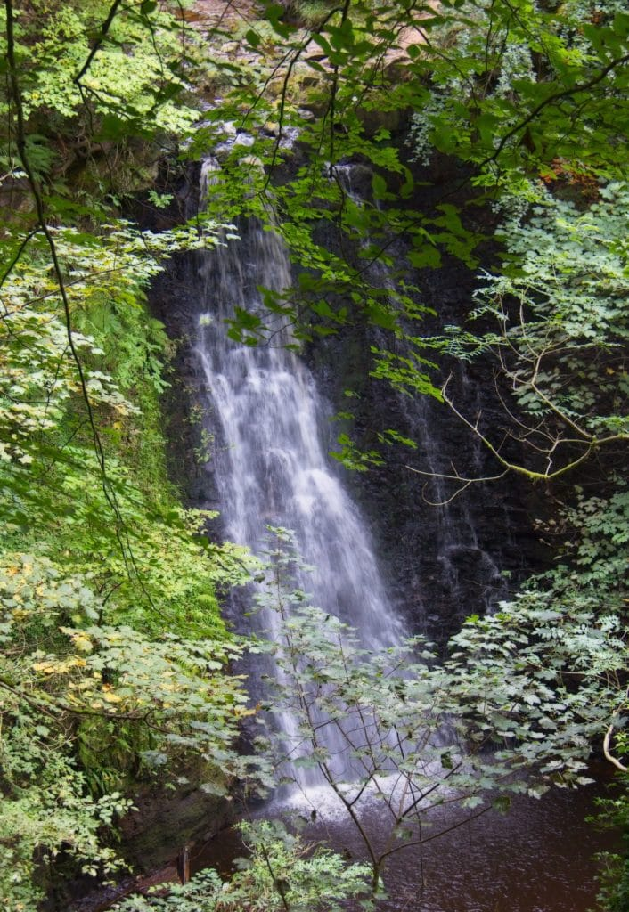 A view of famous Falling Foss Waterfall through the trees in North Yorkshire. Goathland, North Yorkshire, England