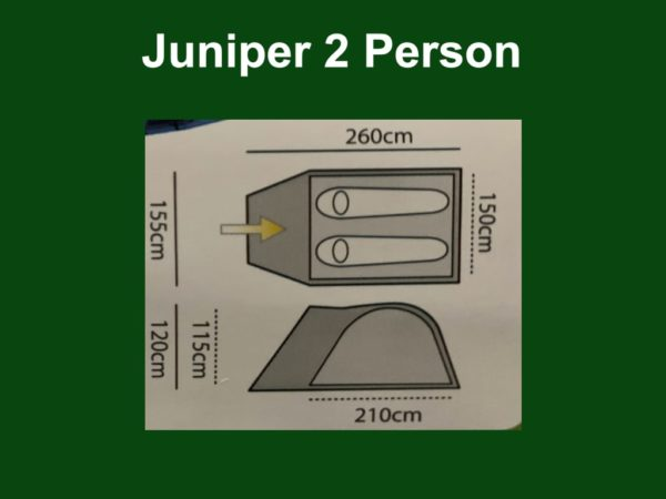 Highlander Outdoor Juniper 2 Person Dome Tent footprint and size guide