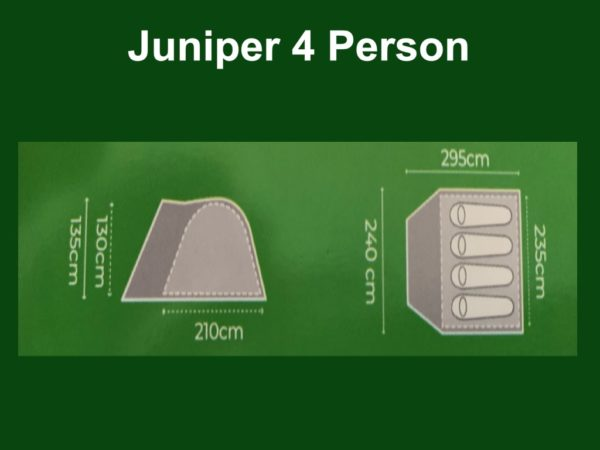 Highlander Outdoor Juniper 4 Person Dome Tent footprint and size guide