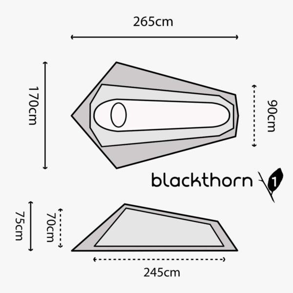 Highlander outdoor blackthorn 1 person tent size guide ten131-spec-lineart