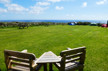 Treen Farm Campsite seats and view