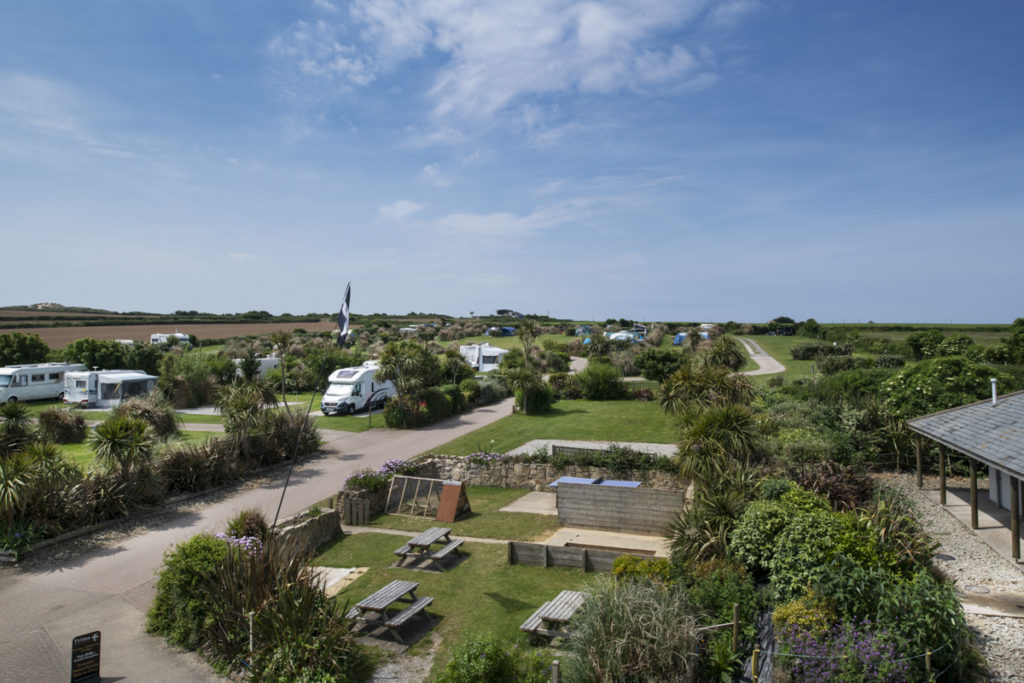 aerial-view-of-Gwithian Farm Campsite, Hayle