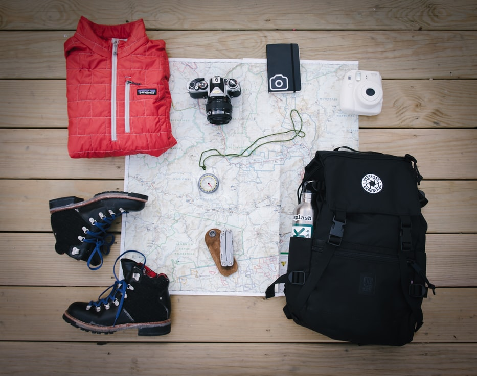 hiking gear laid out