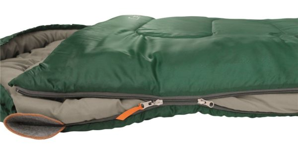Easy Camp Cosmos Sleeping Bag Green close up and open
