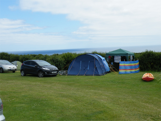 Treen Farm campsite with a sea view