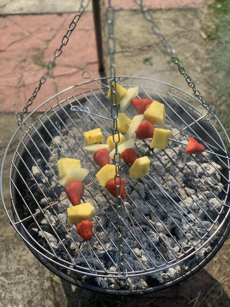 Chocolate and Fruit Skewers on BBQ close up