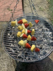 Chocolate and Fruit Skewers on BBQ